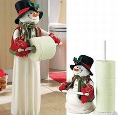 And can simply be recreated by using some white fleece fabric and a stuffed toy snowman!Snowman for the bathroom and kitchen of the house, Paper Roll Snowmen Make a fun Winter craft with these toilet paper roll snowmen. Christmas Snowman, Christmas Home, Handmade Christmas, Christmas Holidays, Christmas Ornaments, Snowman Crafts, Christmas Projects, Diy And Crafts, Christmas Crafts