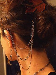 Hair Chain, Ear Cuff, Ear Chain, Bohemian, Hair Jewelry, Hair Clip, Chain Barrette, Hair accessories on Etsy, $28.00
