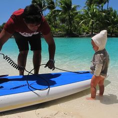You expect me to do what? A surfing lesson for a mini guest at @Four Seasons Resort Bora Bora.