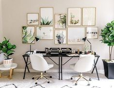 You know what they say: two is better than one! We're loving this #chic His & Her office space in @inspiredbythis's home! #glam #linkinbio #wayfair