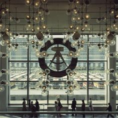 """Inside Palast der Republik (Palace of the Republic) in East-Berlin. It was also humorously called """"Erich's Lampenladen"""" (Erich's lamp shop )"""