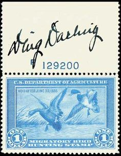 DM Register cartoonist Ding Darling developed the Fish and Wildlife Refuges as an appointee of FDR. A refuge on Sanibel Island is named for Darling. He established the duck stamp program and provided the first stamp in the series.