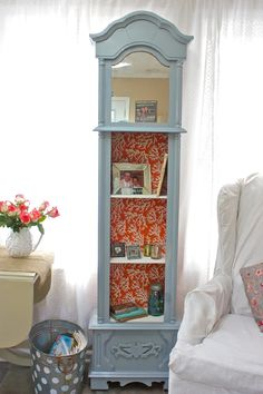 <3  Turn an old grandfather clock into a bookshelf for nick nacks