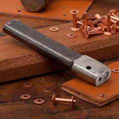 Rivet Setter and Copper Rivets - Leather, Canvas, Denim - Garrett Wade Woodworking Software, Woodworking Books, Fine Woodworking, Woodworking Store, Woodworking Projects, Woodworking Machinery, Woodworking Workbench, Leather Working Tools, Leather Craft Tools