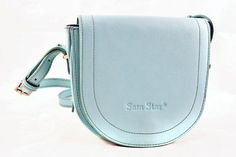 Pastel Blue Leather Sling Bag