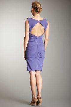 Nicole Miller  Ruched Satin Crepe Dress