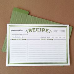 Free classic recipe card printables