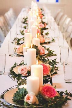 Wedding Reception Centerpieces | Romantic Candle Centerpieces | Candles | Gold Chargers | Greenery and Flowers