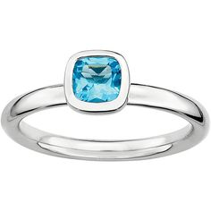 Personally Stackable Cushion-Cut Genuine Blue Topaz Sterling Silver... ($104) ❤ liked on Polyvore featuring jewelry, rings, no color, cushion cut blue topaz ring, sterling silver cocktail rings, sterling silver blue topaz ring, polish jewelry and round ring