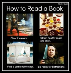 The humorous way to read a book.