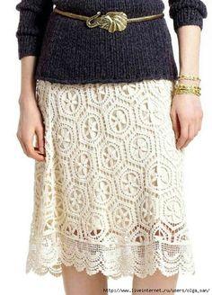 Crochetemoda: Saia Branca de Crochet