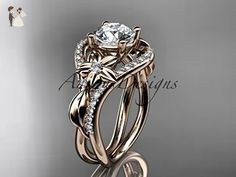 Unique 14kt rose gold diamond leaf and vine wedding ring, engagement ring ADLR244 - Wedding and engagement rings (*Amazon Partner-Link)