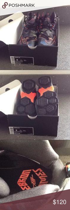 Lebron James Xlll men's tennis shoes Lebron James Xlll men's. Tennis shoes. Black-HYPR Orange/ Lagon BLEUN. Never worn Nike Shoes Sneakers