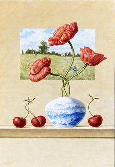 "Ruud Verkerk, ""Hommage aan Monet met klaprozen"", olie op paneel, 30 x 7,5 cm Monet, Olie, Watercolor, Painting, Art, Pen And Wash, Art Background, Watercolor Painting, Watercolour"