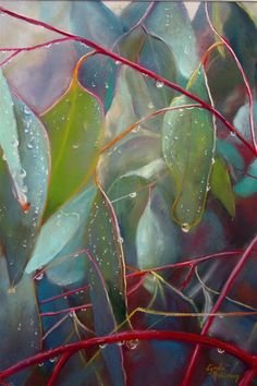 Nature's Tears, by Lynda Robinson Pastel on Mi Teinte 'Tex' Paper (Burgundy) 55cm x 35cm approx.