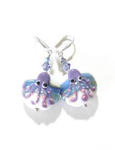Lampwork Glass Octopus Blue Purple Disc Earrings by JKCJewelry, $23.00