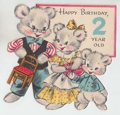 Vintage Hallmark Fuzzy Bear Family TWO Year OLD Birthday Greeting Card | eBay