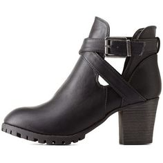 Charlotte Russe Black Bamboo Belted Lug Sole Booties by Bamboo at Charlotte Russe