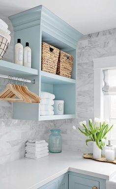 Love the blue cabinets Cheery farmhouse laundry room Image Janis Nicolay Design Jillian Harris Laundry Room Organization, Laundry Room Design, Design Room, Home Design, Laundry Decor, Design Ideas, Laundry Room Colors, Colorful Laundry Rooms, Shelving In Laundry Room