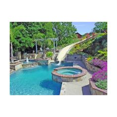 Water slide and Fountain, Swimming Pool and Retaining Walls -... ❤ liked on Polyvore featuring house, home, pools, rooms and pictures