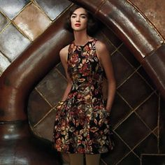 Anthropologie leifsdottir andelita brocade dress Gorgeous brocade dress with a ribbon tie in the back. Worn twice, in excellent condition. Sz 8 Anthropologie Dresses Mini