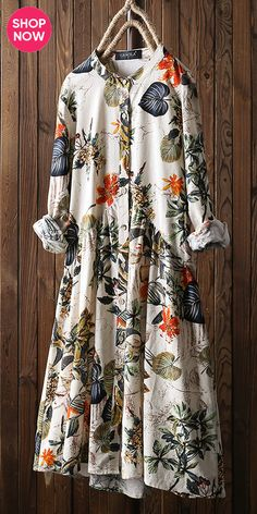 Leaves Floral Print Pleated Long Sleeve Vintage Dress is high-quality, see other cheap summer dresses on NewChic. Cheap Summer Dresses, Summer Dress Outfits, Casual Dresses, Fashion Dresses, Long Sleeve Vintage Dresses, Vintage Long Dress, Kurta Designs Women, Kurti Designs Party Wear, Long Shirt Dress