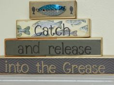 Fathers Day wooden stacker fishing theme cabin by FayesAttic11
