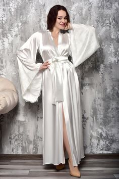 Bride Dressing Gown, Kimono Dressing Gown, Lace Bridal Robe, Bridal Gowns, Wedding Kimono, Lace Kimono, Bridesmaid Robes, Satin Nightie, Satin Lingerie