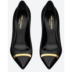 Saint Laurent Classic Paris 80 Escarpin Pump In Black Leather With... (625 CAD) ❤ liked on Polyvore featuring shoes, pumps, heels, black, zapatos, black heel pumps, high heel pumps, heels & pumps, black high heel pumps and black leather pumps