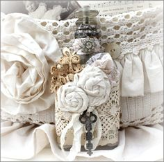 Flowers on vintage bottle - love the layers and textures