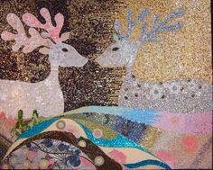 DEER my LOVE  139 x155 cm  Beads / Crystal / Sequins / Glitter thread