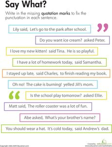 Quotation Marks: Say What? Worksheet