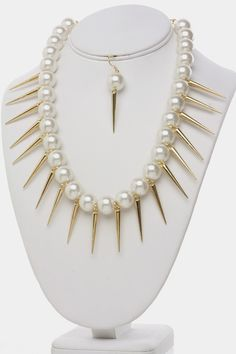 Stunning Pearls and Spikes Necklace Earrings SET (Gold Tone) - $25.00