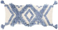 Drawing from bohemian and coastal global inspired styles and designs, the Helena Blue Boho 12 x 30 Tasseled Pillow is sure to be a trendy, textured addition to your room. We simply love the details! Moroccan Wedding Blanket, Cotton Velvet, Blue Pillows, Cotton Pillow, Throw Pillow Sets, Outdoor Throw Pillows, Hand Weaving, Boho, Construction