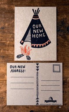 Teepee Moving Postcard Set