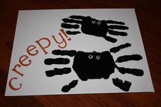 spider handprints for Halloween