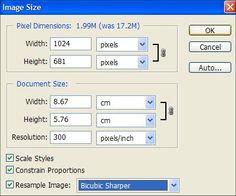 resize image dialogue box. ~ photoshop tutorial