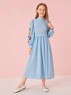 Blue Pastel Glamorous Long Sleeve Polyester Floral A Line Non-stretch Spring Girls Dresses, size features are:Bust: ,Length: ,Sleeve Length:Long Sleeve Girls Spring Dresses, Little Girl Dresses, Flower Girl Dresses, Girls Fashion Clothes, Kids Fashion, Dress Anak, Frocks For Girls, Girly Outfits, Girl Clothing