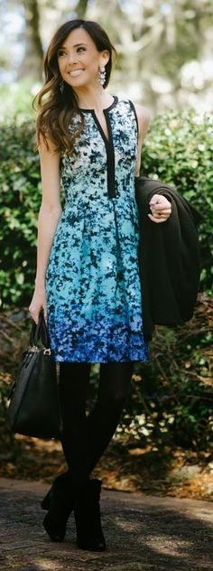Blue Ombre Floral Dress by Sequins & Things