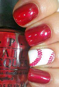 Baseball nail art & beautiful red nail polish : OPI ★ Wocka Wocka ★  (beautiful deep red with embedded shimmer)