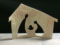 Nativity Cutout Stable Spring Green by DowntoEarthenware on Etsy Mais Christmas Nativity Scene, Christmas Makes, Noel Christmas, Christmas Projects, Christmas Ornaments, Nativity Sets, Wood Crafts, Diy And Crafts, Clay Projects