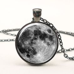 Full Moon Necklace In Gunmetal Black 0439G1IN by rainnua on Etsy, $14.45 - WOW!!!! GORGEOUS!