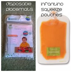 Quiet lap activities for traveling with a toddler: INFANTINO SQUEEZE POUCHES AND DISPOSABLE PLACEMATS for easy snacking and clean up
