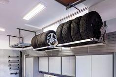 Tire racks in garage