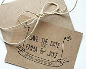 Wedding Save the Date -- Little Bird Banner Flats & Envelopes in Kraft/Natural Brown -- RESERVED for Nikki. $50.50, via Etsy.