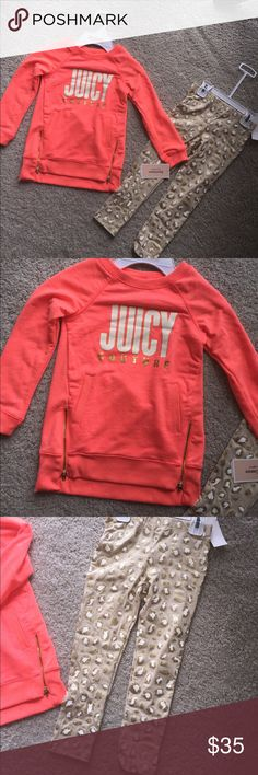 Juicy couture 4T top and leggings set NWT. In perfect new condition. Top and comfy cotton leggings set. No trades Juicy Couture Matching Sets