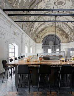 Dutch designer Piet Boon has transformed the interior of a former military hospital chapel in Antwerp, Belgium, into a contemporary restaurant featuring a sculptural chandelier: http://www.dezeen.com/2014/04/06/military-church-antwerp-transformed-restaurant-piet-boon-studio-job/