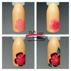 Step by step easy nail art flower Floral Nail Art, Nail Art Diy, Easy Nail Art, Diy Nails, Toe Nail Designs, Nail Polish Designs, Belle Nails, Nail Techniques, Fabulous Nails