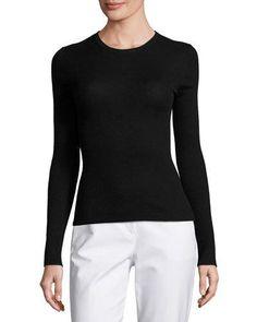MICHAEL KORS LONG-SLEEVE CASHMERE SWEATER, BLACK. #michaelkors #cloth #