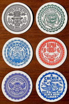 """A variety of six paper drink coasters featuring fictitious beer brands designed and illustrated by Chet Phillips. In the mood for a """"Schöfferhofer Chimpin Dunkel?"""" This well-aged premium dark lager mixes burnt banana aromas. Beer Packaging, Packaging Design, Branding Design, Label Design, Design Design, Craft Beer Brands, Sous Bock, Beer Mats, Coaster Design"""